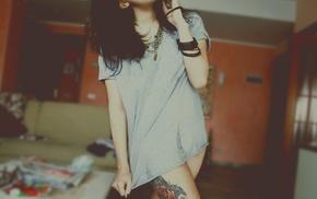 indoors, girl, brunette, girl indoors, tattoo