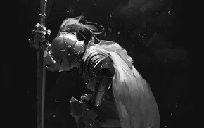 sword, armor, weapon, monochrome, fantasy art, drawing