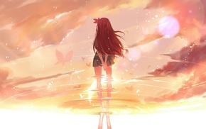 water, Kisaragi KanColle, anime girls, anime, redhead, reflection