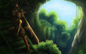 Anthro, fantasy armor, furry, sword, forest