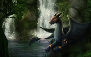 furry, dragon, Anthro, waterfall