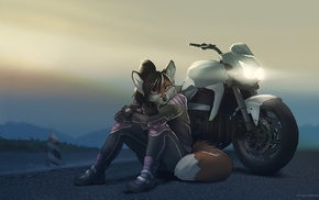 motorcycle, Anthro, furry, sitting