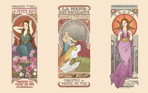 Art Nouveau, Margaery Tyrell, Game of Thrones, fantasy girl, collage, Sansa Stark