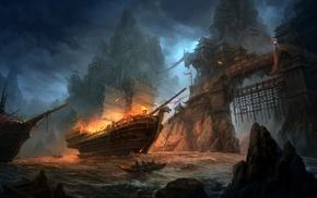 boat, fantasy art, battle, ship