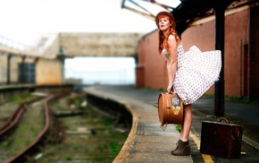 model, train station, girl, suitcase