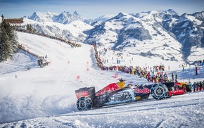 Red Bull, Formula 1, mountains, Red Bull Racing, winter, Kitzbhel