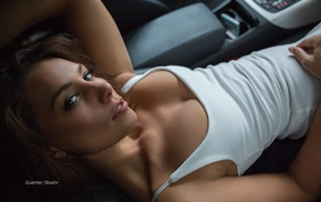 Guenter Stoehr, car, white tops, brown eyes, girl, no bra