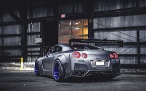 car, modified, Nissan GT, R, silver cars, Nissan