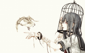 bandage, original characters, anime girls, birds, cages, birdcage
