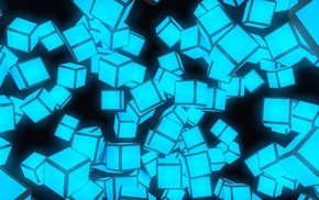 cubic, cube, minimalism, 3D, night, glowing