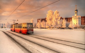 tram, snow, church, winter, Russia, city