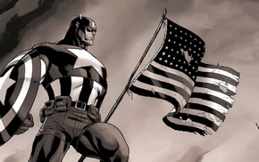 Marvel Comics, Captain America, American flag, flag, monochrome, superhero