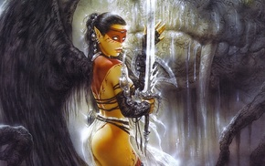 tattoo, angel, Luis Royo, girl, warrior, fantasy art