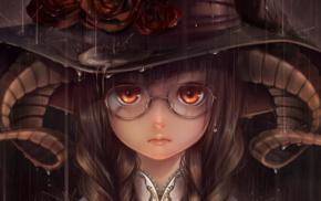rain, anime girls, horns, glasses
