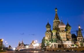 Kremlin, Moscow, church, city, Russia, street light