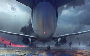digital art, airfield, Sergey Zabelin, artwork, war, airplane