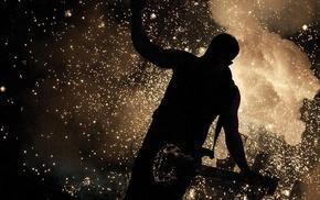 sparks, smoke, guitar