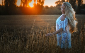 sunlight, nature, field, see, through clothing, girl