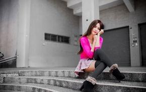 selective coloring, Asian, girl, thigh, highs, skirt