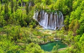 waterfall, park, landscape