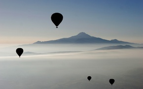 hot air balloons, nature, mountains, mist, landscape, photography