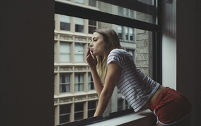 shorts, looking out window, girl, long hair, window, looking away