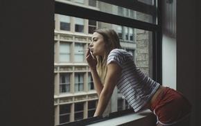 shorts, looking out window, girl, long hair, window, looking away