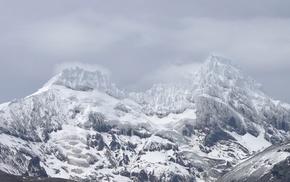 landscape, monochrome, snow, mountains