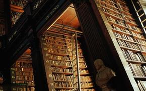 wood, letter, Dublin, library, shelves, bust