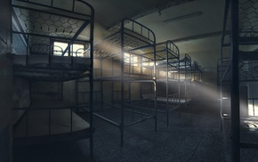 sun rays, abandoned, silent, architecture, empty, bed