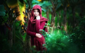 jungle, palm trees, long hair, depth of field, nature, hoods