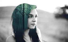double exposure, forest, hair, girl