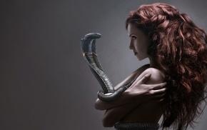 girl, cobra, redhead, snake, fantasy art, drawing