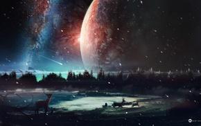 space, digital art, shooting stars, planet, deer
