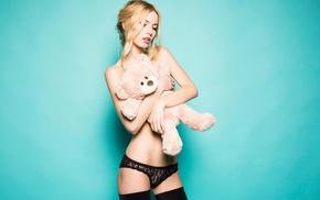 girl, blonde, lingerie, panties, teddy bears, black lingerie