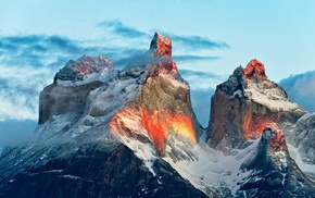 Chile, mountains, sunlight, Torres del Paine, national park, snowy peak