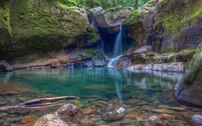 Oregon, rock, landscape, waterfall, moss, nature