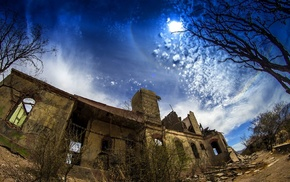 ruins, abandoned, Chile, nature, trees, sky