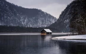 snow, forest, overcast, landscape, cottage, lake