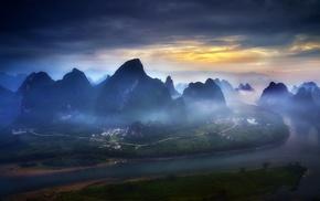 sky, mountains, nature, landscape, blue, river