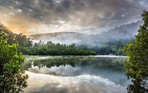 lake, landscape, mist, Australia, reflection, water
