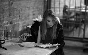 Cara Delevingne, actress, blonde, monochrome, girl