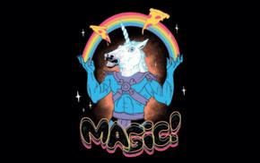 He, Man, pizza, rainbows, unicorns, magic