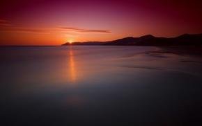 landscape, sea, Sun