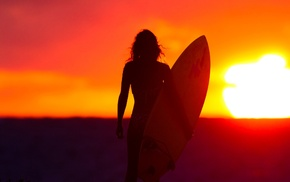 girl, Sun, surfing