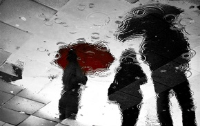 reflection, rain, water, umbrella