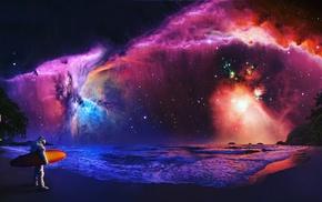 nebula, surfing, fantasy art, astronaut