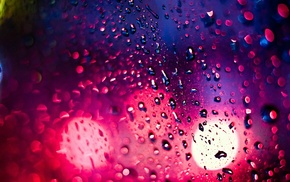 macro, water drops, glass, window, bokeh
