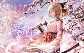 anime girls, miko, FateGrand Order, katana, Sakura Saber, cherry blossom