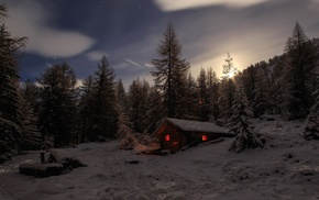 cabin, trees, winter, snow